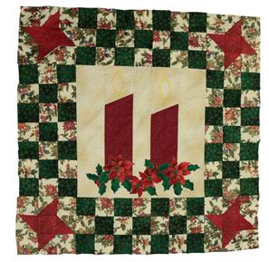 Two large Christmas candles for the centre piece to this wallhanging.  The candles are underlined by sprigs of holly and framed by a checkerboard pattern with stars at the corners.  The colours are predominantly green, red, cream and gold; Christmas colours.