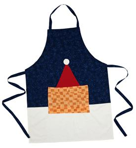 Shows a patchwork Christmas apron in blue and white with a red Santa hat and a patch pocket.