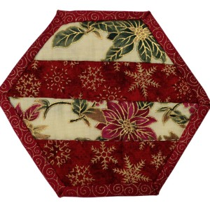 One of six Christmas coasters. This one consists of horizontal bars inside a red border.