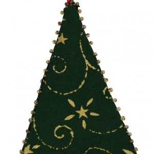 One of three Christmas tree decorations. This one is itself a Christmas tree, green with gold detailing in a red container.