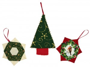 A really seasonal patchwork project.  It consists of three small pieces; two star shapes and a Christmas tree shape each of which have loops for hanging on your tree.