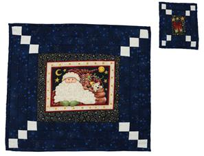 A table-mat and coaster made in a dark blue colour with white details.  A traditional Christmas Santa picture appears in the center of the table-mat and a Christmas parcel with a red bow in the center of the  coaster.