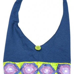 A blue shoulder bag with green and purple details.