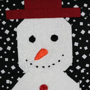A detail of the snowman panel showing the snowmans head