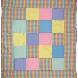 Squares and bears quilt, it's bright and cheerful and perfect for your baby.