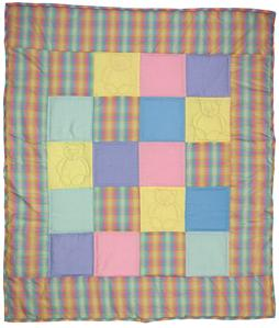 Shows a really nice, bright and happy baby patchwork quilt. The center panel is made up of twenty squares some of which contain quilted bears