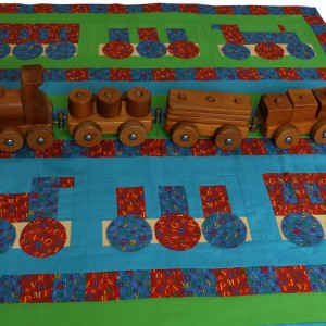 The toy wooden train that inspired the Choo Choo quilt.